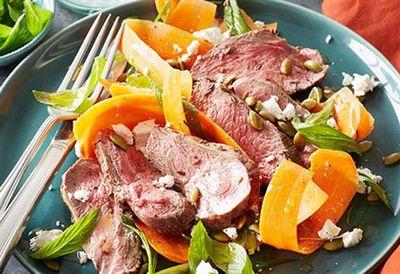 """Recipe: <a href="""" /recipes/ilamb/8970738/mini-lamb-rump-roast-with-carrot-and-feta-salad """" target=""""_top"""">Mini lamb rump roast with carrot and feta salad (35 minutes)</a>"""