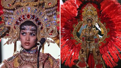 Miss Panama Gladys Brandao Amaya in the national costume competition. (Getty)