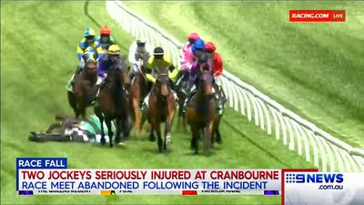 Cranbourne meeting called off after jockeys hospitalised from horror fall
