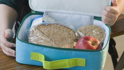 School lunch sandwich and apple in blue cooler bag