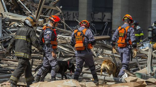 Firefighters were using dogs to search for people in the rubble.