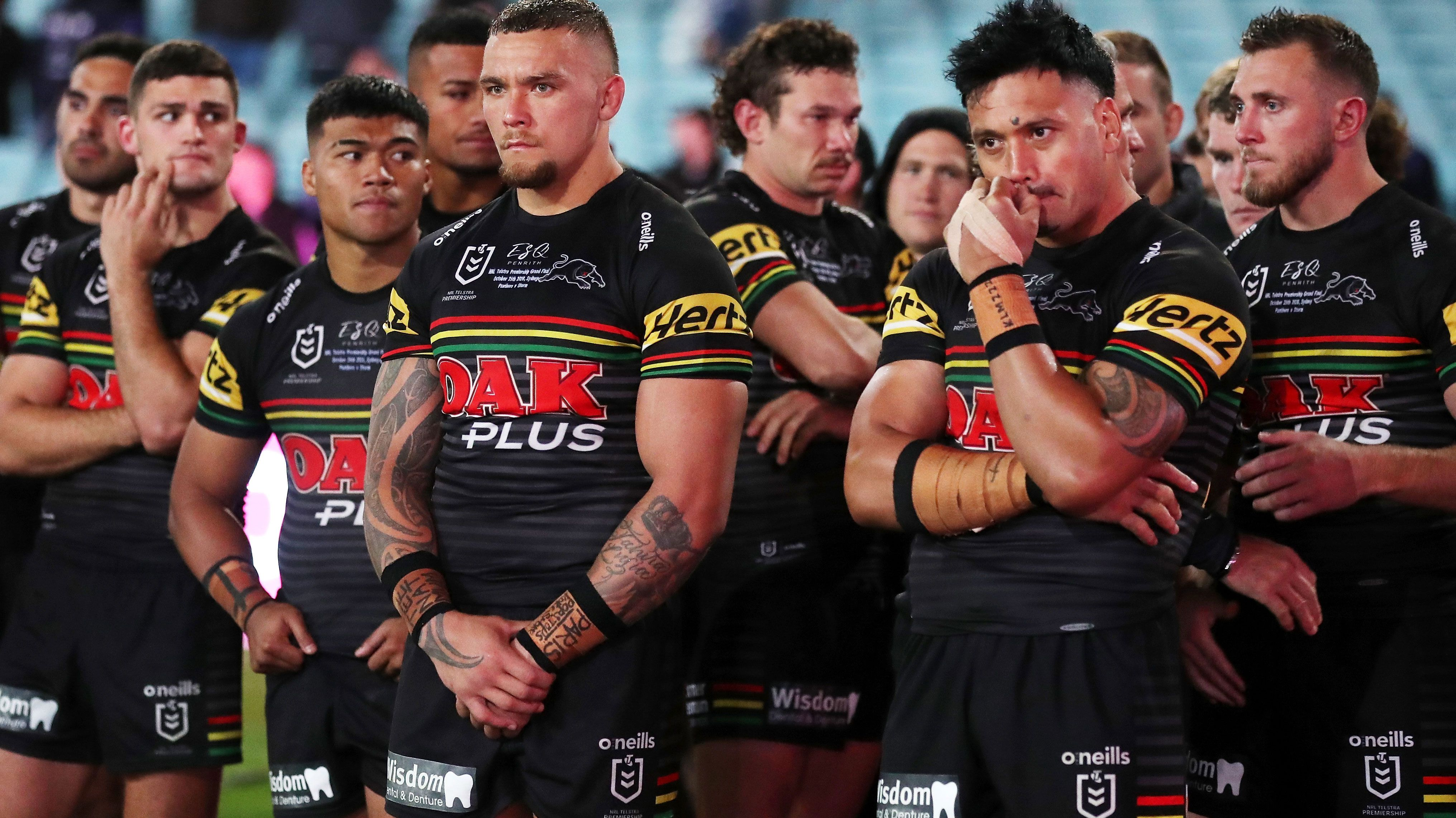 The Penrith Panthers during last year's grand final presentation.