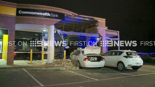 Two people using an ATM at the time of the crash had to run for the lives. (9NEWS)