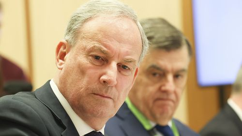 Senior Australians and Aged Care Services Minister Richard Colbeck and Health Department Secretary Brendan Murphy during the Senate estimates hearing.