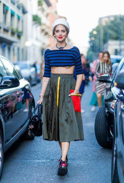Chiara Ferragni in Prada at Prada, Milan Fashion Week