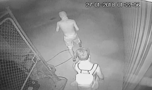 The CCTV footage shows three people trespassing on a property. (Facebook)