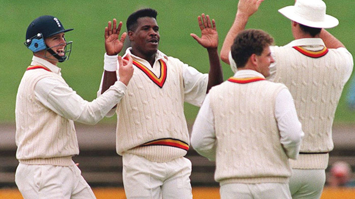 Joey Benjamin (centre) celebrates a wicket at Adelaide Oval during the 1994-95 Ashes tour.