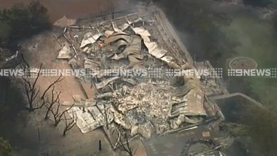 <p>A home  was destroyed by fire at Cobaw, north of Melbourne, Tuesday afternoon. (9NEWS)</p>