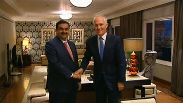 VIDEO: Malcolm Turnbull meets with Indian billionaire Gautam Adani on trade mission