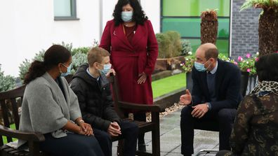 Prince William, Duke of Cambridge speaks to staff and patients to mark the construction of the groundbreaking Oak cancer centre at Royal Marsden Hospital on October 21, 2020 in Sutton, Greater London