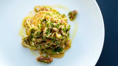 "Recipe: <a href="" http://kitchen.nine.com.au/2017/06/13/11/09/spaghetti-with-spanner-crab-garlic-chilli-parsley-and-lemon"" target=""_top"">Spaghetti with spanner crab, garlic, chilli, parsley and lemon</a>"