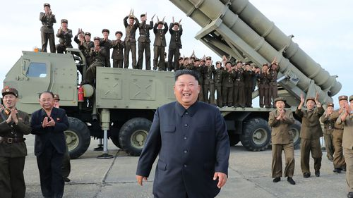 Korean Central News Agency said Kim expressed satisfaction over what North Korea described as a successful test of its new rocket launcher with 'superpower' capabilities.