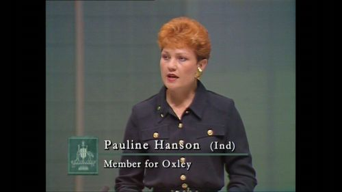 """In Pauline Hanson's maiden speech to Parliament, she said Australia was in danger of being """"swamped by Asians""""."""
