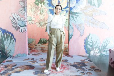 Designer Nicky Zimmermann at Zimmermann's A/W '18 show in New York City