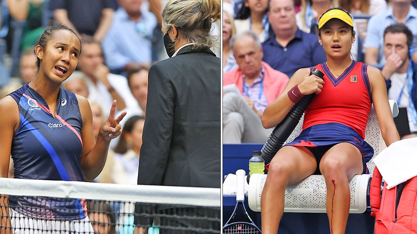 Leylah Fernandez of Canada reacts as Emma Raducanu of Great Britain takes an injury timeout