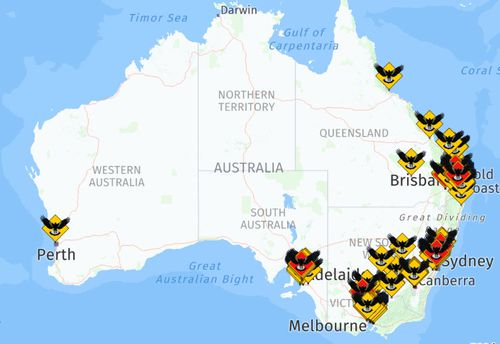 A map showing the locations of magpie attacks reported in Australia so far this year.