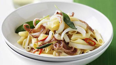 "<a href=""http://kitchen.nine.com.au/2016/05/17/15/10/pennette-with-calamari-chilli-and-sage"" target=""_top"">Pennette with calamari, chilli and sage</a> recipe"