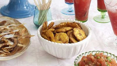 """<a href=""""http://kitchen.nine.com.au/2016/05/17/14/31/plantain-chips"""" target=""""_top"""">Plantain chips</a> recipe"""