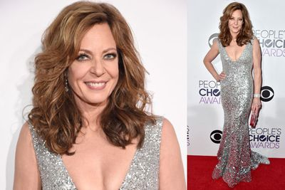 ...while her co-host Alison Janney sparkles in a racy silver gown.