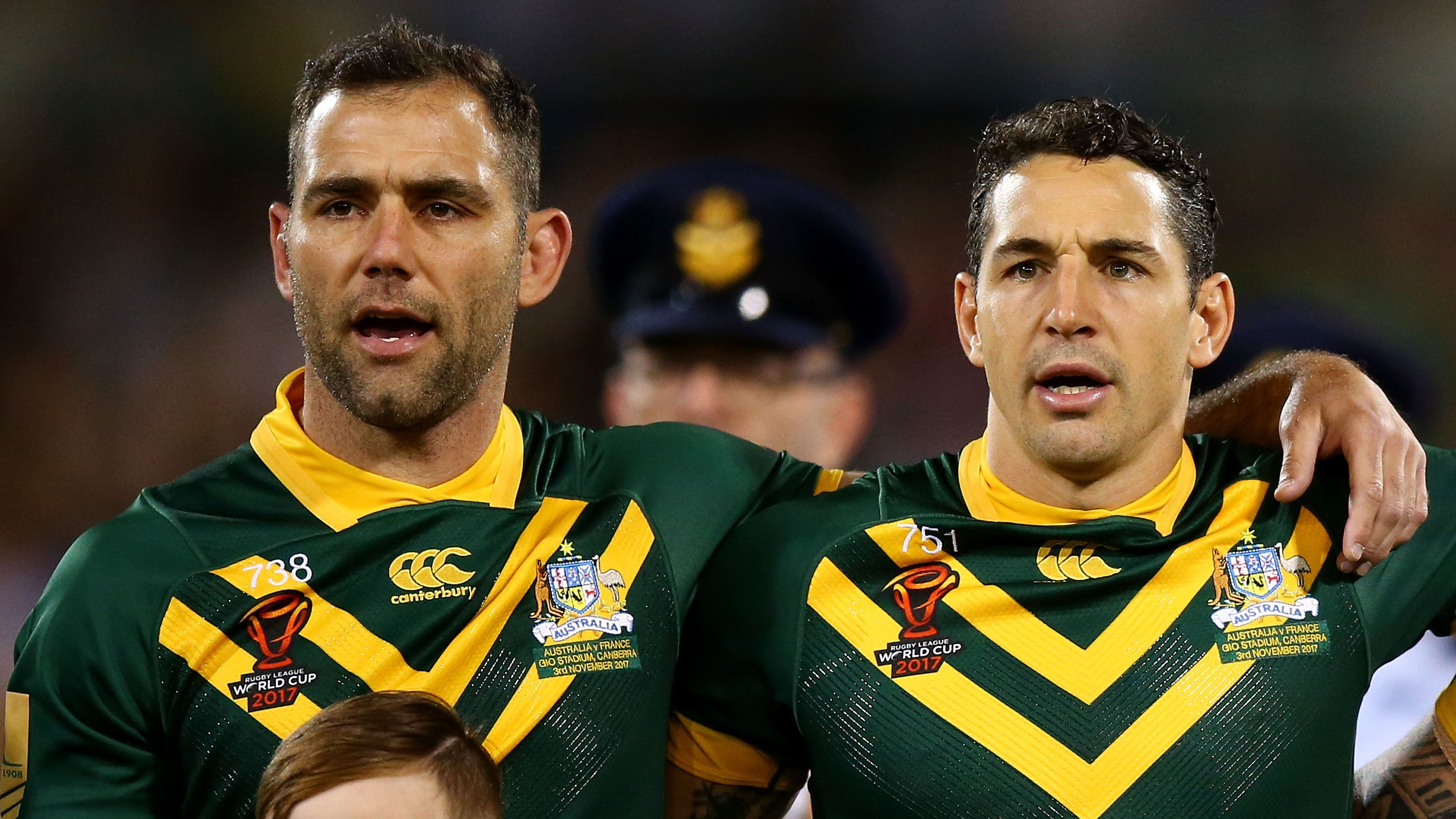 Cameron Smith alongside Kangaroos teammate Billy Slater at the 2017 Rugby League World Cup.