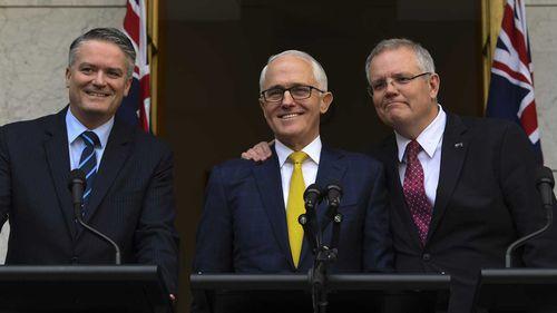Mattias Cormann, Malcolm Turnbull and Scott Morrison.