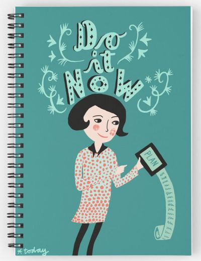 """<p>All kids need a notebook or three. One with a message is always fun.</p> <p><a href=""""https://www.redbubble.com/people/littlberlingirl/works/27103870-do-it-now?grid_pos=80&amp;p=spiral-notebook&amp;rbs=9b76acd1-fe4d-44f0-819a-4c7d687088ca&amp;ref=shop_grid"""" target=""""_blank"""" draggable=""""false"""">Do It Now Spiral Notebook, $15.</a></p>"""