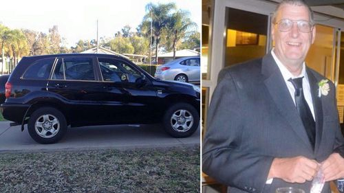 A photo of a black Toyota Rav4 and missing Queensland father Terry Lloyd.