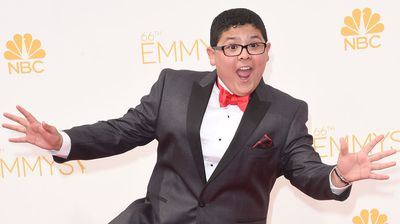 Modern Family's Rico Rodriguez bust a move on the red carpet. (Getty)