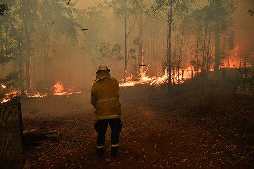 RFS volunteers and NSW Fire and Rescue officers protect a home on Wheelbarrow Ridge Road being impacted by the Gospers Mountain fire near Colo Heights south west of Sydney, Tuesday, November 19, 2019. (AAP Image/Dean Lewins)