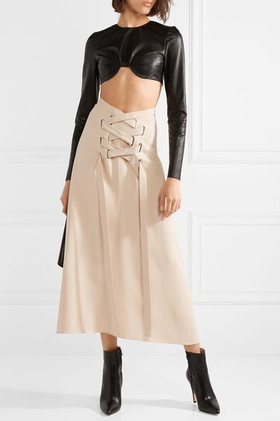 "<a href=""https://www.net-a-porter.com/au/en/product/995958/TRE/lace-up-crepe-midi-skirt"" target=""_blank"" title=""TRE Lace-Up Crepe Midi Skirt, $693.65"" draggable=""false"">TRE Lace-Up Crepe Midi Skirt, $693.65</a><br> <br>"