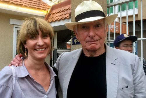 Australian director Peter Weir (right) poses for a photograph with Alex, the partner of Jesse Ricketson, the son of Australian filmmaker James Ricketson, after giving evidence at a court hearing in Phnom Penh, Cambodia.