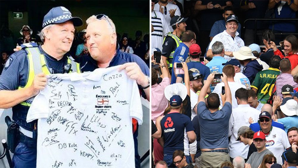 Australian policeman Tony Breen sworn in to England's Barmy Army at Boxing Day Test