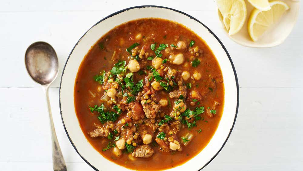 One-pan Moroccan lamb harira soup with lentils and chickpeas