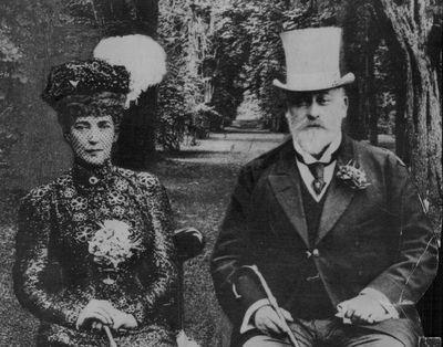 Here, King Edward VII is pictured with his long-suffering wife Queen Alexandra.