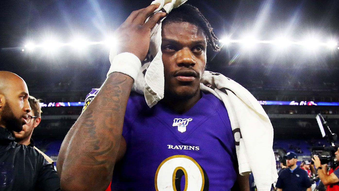 Lamar Jackson reacts to Baltimore's loss to Tennessee