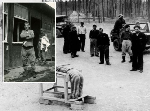 US soldiers liberate Buchenwald concentration camp in April 1945, where Jack Meister, inset, had been held. (Sydney Jewish Museum).