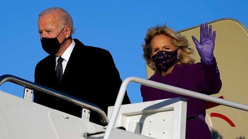 Joe and Jill Biden arrive in Washington DC.