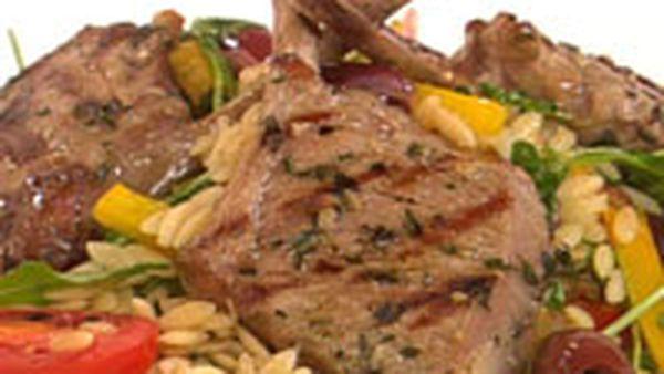 Thyme & garlic lamb with tomato & olive risoni salad