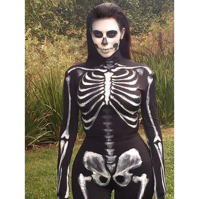 Kim Kardashian dressed as a skeleton for Halloween in 2014