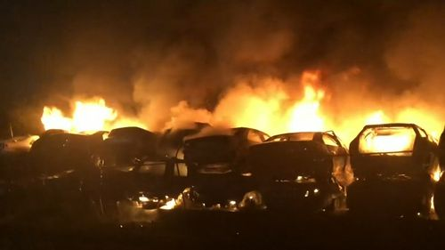 More than 40 cars were damaged or destroyed in the blaze.