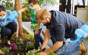Prince Harry and Meghan plant Diana's favourite flowers at preschool garden in Los Angeles