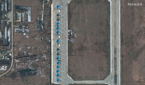 Su-34 fighter jets are seen at the Russian military's Morozovsk airbase, about 160 kilometres east of the Ukrainian border in southern Russia, in a satellite image provided by Maxar Technologies that it said was taken in April 2021, amid a Russian military buildup in the region.