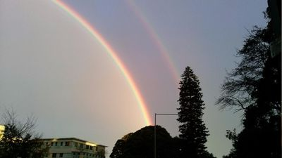 Twitter user 'Gully' summed it up best with the caption 'Whoa double rainbow all the way'. (Twitter, @Neil_Gulliver95)