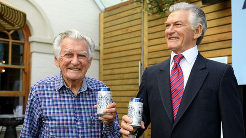 The wax model gives Hawke Lager a whirl. (AAP)