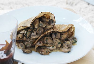 Buckwheat crepes with mushrooms