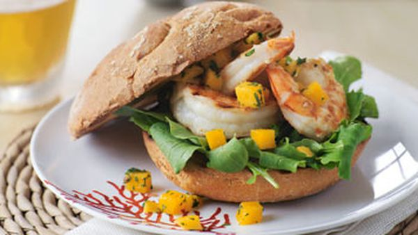 Prawn burgers with rocket & mango relish