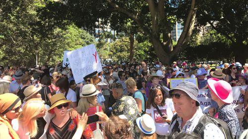 Protestors gathered at Sydney's Hyde Park. (Mary Jordan, 9NEWS)