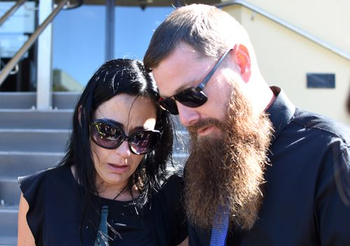 Parents Kerri-Ann Goodwin and Shane Burke speak outside the Mackay Supreme Court in Brisbane, on June 5, 2017. Their son's killer Matthew James Ireland was sentenced to jail for eight-and-a-half years for the manslaughter of 18-month-old Hemi Goodwin-Burke.