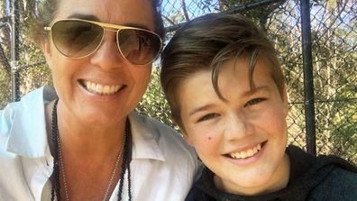 Sydney teen Logan Hodge (right) and his mum Britta (left). (Supplied)