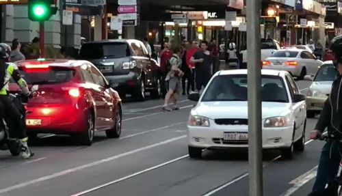 The two men were seen brawling at Prahran about 6pm yesterday.